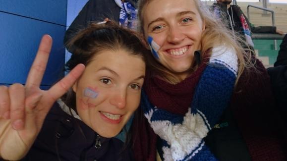 Lenka and I at a football game.